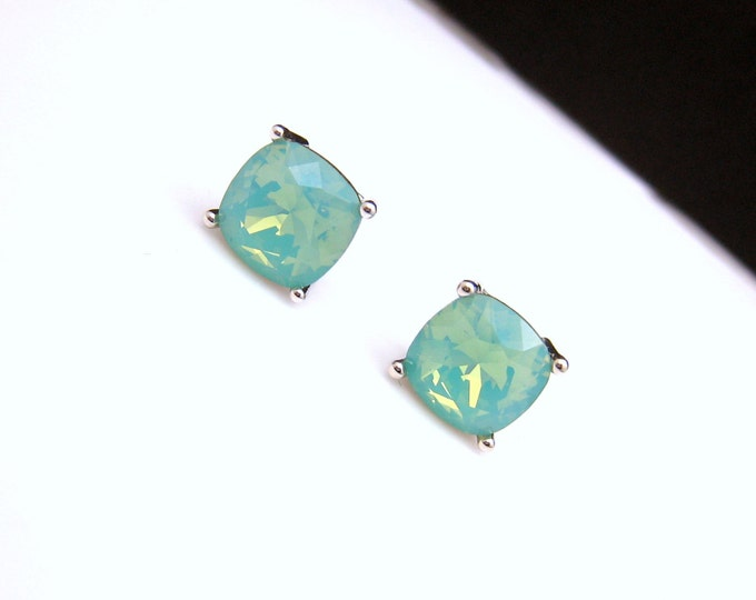 christmas prom bridal wedding bridesmaid gift Swarovski pacific blue opal mint square cushion cut foiled rhinestone silver stud earrings