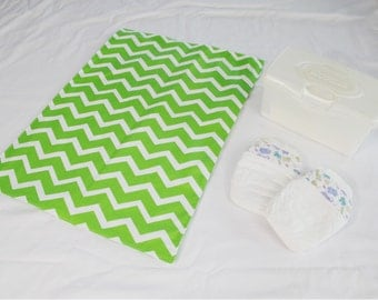 Bright Green Chevron Waterproof Changing Pad - large size