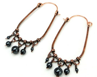 Elongated Hoop Earrings, Antiqued Copper Jewelry, Hematite Beads, Wire Wrapped Earrings, Fringe