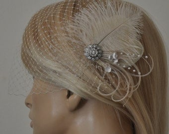 Birdcage Veil (Bandeau style) and Champagne /Cream Feathers Fascinator,(2 ITEMS), Hair Accessories,bridal head piece,