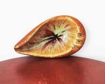 vintage ash tray mid century 60s leaf ceramic psychedelic glazed 1960s home decor