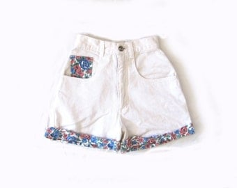 vintage jean shorts 1990s white denim floral print high waisted grunge womens clothing size xxs xs extra small 0 00