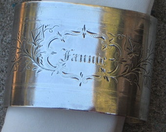 Dress Up Your Table Frannie You Sit Here Sterling Silver Napkin Ring Victorian Etched