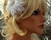 Wedding Bridal Feather Fascinator, Bridal Hair Clip, White, Off White, Ivory or Black, Feathered Wedding Hair Accessory