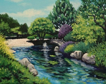 Landscape Print Japanese Garden - 11x14 Giclee from original painting - Water Fountain - San Francisco California