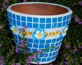 Blue and White Stained Glass Mosaic Planter Pot with Polymer Flowers