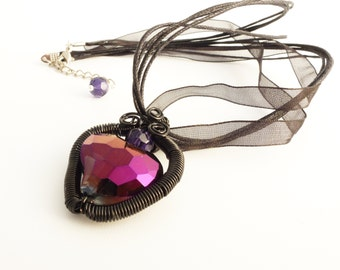 Gothic Black Wire Wrapped Large Crystal Heart Pendant Necklace