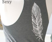Womens Feather Racerback Tank Top, Gift for Her, Summer Tank, Under 20