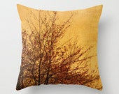 Fall Colors Throw Pillow Cover, Warm Tones, Dusk Print, Gentle Brown Shades, Fall, Soft Orange Art, Tree Home Decor, Woodland Sunset, Autumn