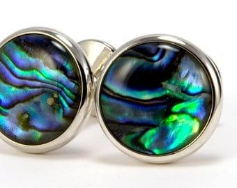Mens Cuff Links - Paua Shell Silver Cufflinks - Silver Cufflinks - Abalone Shell - Perfect for Fathers Day, Wedding, Anniversary, Graduation