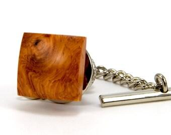 Amboyna Burl Tie Tack - Wood Tie Pin – Wooden Tie Tack - Unique Gift Idea for Fathers Day, Wedding, Anniversary, Graduation