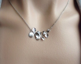 Silver Orchid Trio Necklace - gift, wife, girlfriend, wedding, bridesmaid, romantic, sister, birthday, daughter, mother