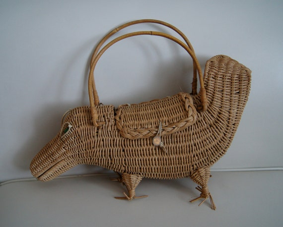 Vintage 1950s Wicker Animal Purse / Rare Figural Wicker