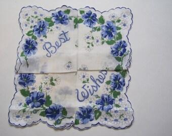 Vintage Best Wishes Blue Flower Hankie with Secret Fold Way