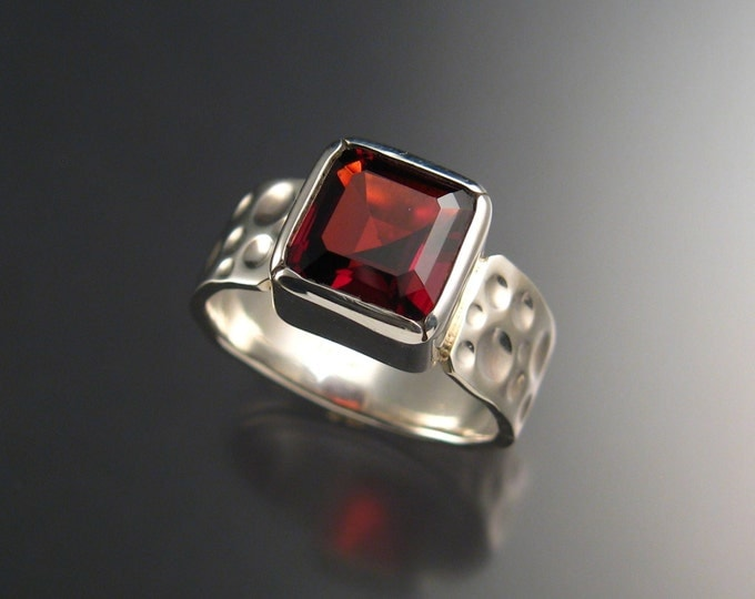 Garnet Ring Sterling Silver Moonscape band large square stone ring made to order in your size