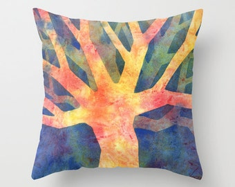 Tree Abstract Watercolor Throw Pillow Cover 1
