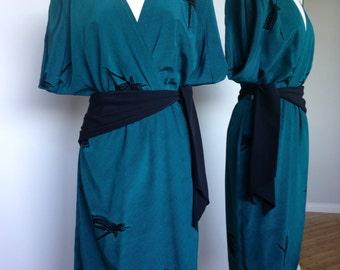 Kimono Style High Fashion Vintage 80s Dress In A Rich Green Blue