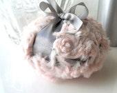 Body Powder Puff - pewter gray and blush pink bath pouf - two toned plush powder duster - gift box option - by Bonny Bubbles