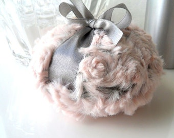 Body Powder Puff - pewter gray and blush pink bath pouf - two toned plush powder duster - gift box option - by Bonny Bubbles