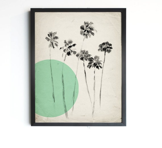 "California Palm Trees - Mint Modern Vintage Inspired Illustration - 8""x10"", 5""x7"", 9""x12"" or 11""x14"""