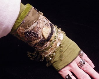 Cuff Olive Creamy Yellow Black Beaded Fringed Peace Cuff Boho Hippie Gypsy Fabric Bracelet