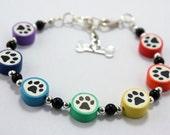 Bracelet Paw Print Beads Colorful Rainbow