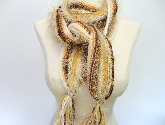 Hand Knitted Womans Long Scarf Brown Cream Wool Mohair