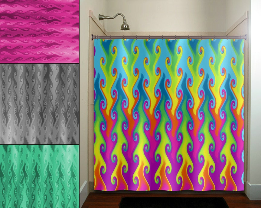 Multi color vines bright colorful rainbow shower curtain for Colorful bathroom accessories