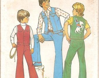 Boys Girls Western Outfit Sewing Pattern -Vintage 70s Simplicity 6955 - Vest Jeans Pants - Cowboy Horse Applique - Size 10 12 UNCUT