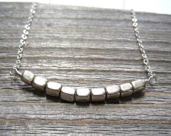 Sterling Silver Minimalist Necklace, Geometric Jewelry, Modern Silver Cube Pendant