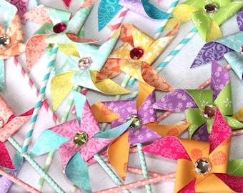 Spring Pinwheels - Pastel Pinwheels - Fabric Pinwheels Set - Pinwheel Party Favors