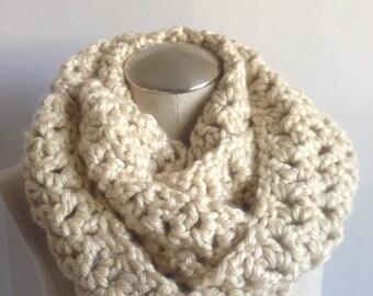 crochet scarf tan handmade women ,tan crochet handmade infinity scarf.handmade crochet tan mobius scarf