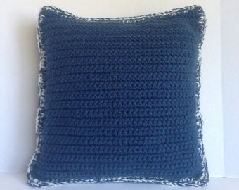 crochet pillow blue crochet , handmade crochet pillow blue white border  , pillow crochet dark blue handmade