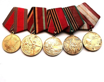 Soviet Military Medal - Set of 5 Medals - 60 Anniversary of the Soviet Army and Navy 30 40 50 60 Years War Victory - from Russia USSR