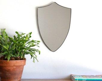 Shield Mirror Crest Mirror Handmade Mirror Wall Mirror Shape Wall Art Badge