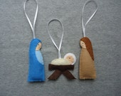 Nativity Felt Ornaments with Mary, Joseph and Baby Jesus