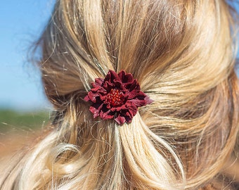 Dark Red leather flower small french barrette hair clip