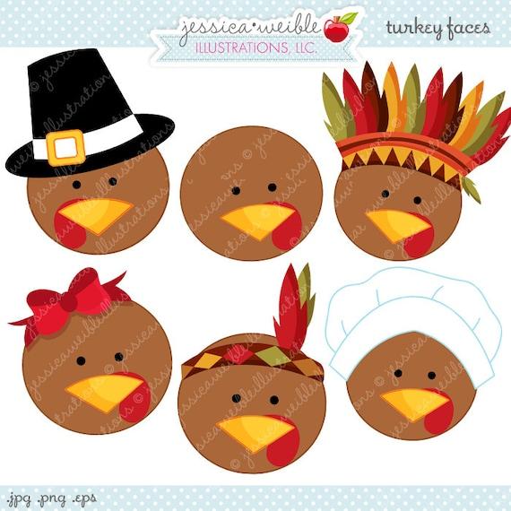 Turkey Faces Cute Thanksgiving Digital Clipart, Commercial Use OK, Thanksgiving Clipart, Turkey Graphics