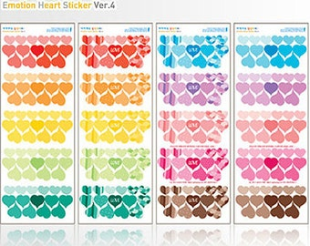 Sensitive Transparent Stickers / Heart - 4 sheets (3.5 x 9.5in)