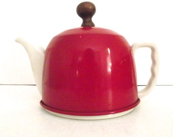 Vintage Ceramic and Metal Teapot in Red and White
