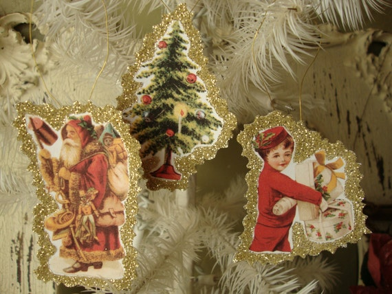 Victorian Christmas ornaments paper gift tags victorian santa angel gold glittered paper ornaments red gold christmas gifts home decor