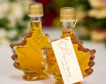 Mansfield Maple Maple Syrup Wedding Favors- Case of 24 (50ml Maple Leaf Glass Bottle)