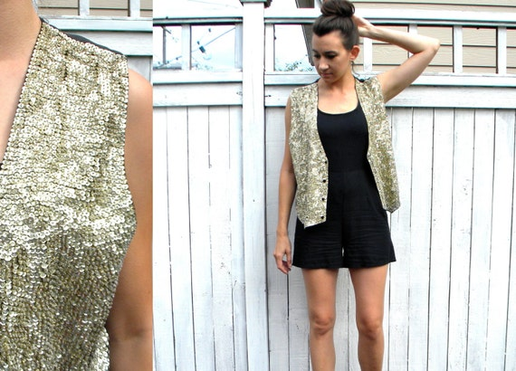 80s Gold Sequin & Beaded Vest, Shimmering Vest, Small