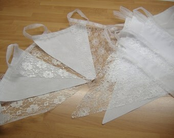 White Lace & cotton Bunting Wedding Christening baby shower Shabby Chic Vintage Garland Banner 10 metre and multiples