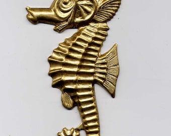 3 Large Seahorse Brass Metal Stampings