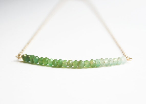 Ombre Jewelry, Green Necklace, Delicate Necklace
