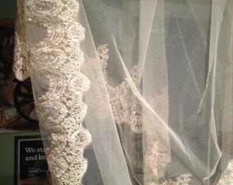 IVORY Cathedral length Lace Mantilla Bridal Veil