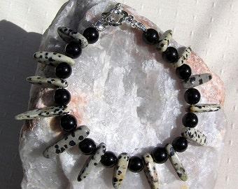 "Dalmatian Jasper & Black Onyx Crystal Gemstone Bracelet ""Black Spur"", Black Bracelet, Beaded Bracelet, Chakra Bracelet, Tribal Bracelet"