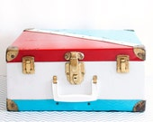 Vintage 1950s Roller Skate Case Suitcase Box in Red White and Blue Roller Derby