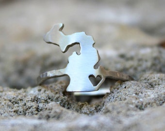 Any State Love Ring - Long Distance Love Gift for Women - Personalized State Ring